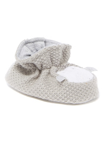 Grey Knitted Penguin Booties (9 - 12 months)