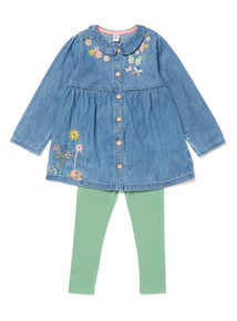 Denim Embroidered Top & Leggings Set (9 months-6 years)