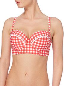 Gok Gingham Padded Bikini Top