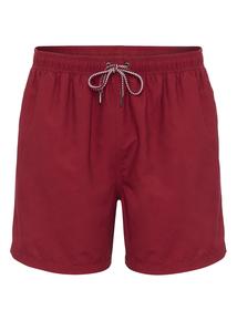 Burgundy Cargo Swim Shorts
