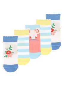 Girls Multicoloured Watch Me Grow Socks 5 Pack (1 - 24 months)