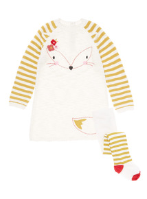 Cream Fox Knitted Dress & Tights Two Piece Set (0-24 Months)