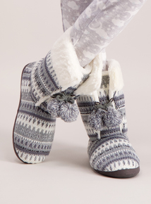 Grey & White Knit Slipper Boot
