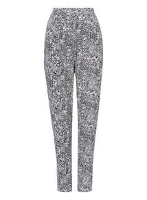 Monochrome Paisley Print Drapey Trouser
