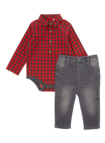 Multicoloured Check Bodysuit and Denim Trouser Set (0-24 months)