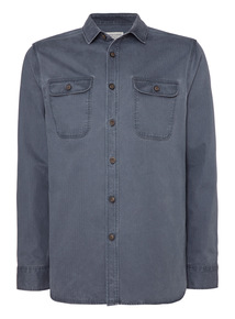 Blue Herringbone Overshirt