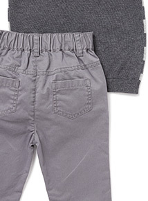 Grey Knit Polo and Trousers Set (0-24 months)