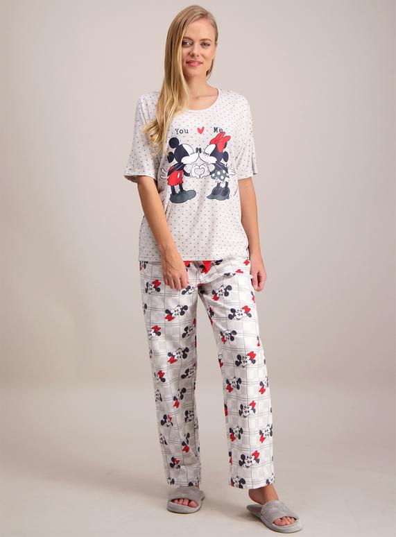 ad0226207ee Womens Disney Mickey   Minnie Mouse Grey Pyjamas