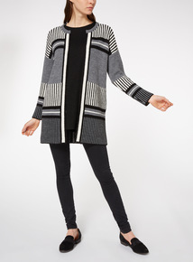 Monochrome Stripe Block Coatigan