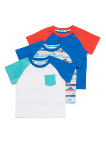 3 Pack Multicoloured Short Sleeve T-Shirts (0-24 months)