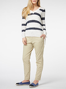 Stone Coastal Belted Chino Trousers