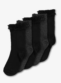 Black & Grey Lace Trim Socks 5 Pack (6 infant-5.5 years)