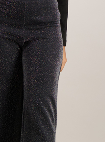 Black Sparkle Wide Leg Culottes