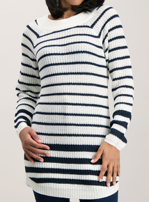 Multicoloured Striped Knitted Tunic