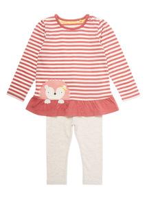 Pink Two Pack Hedgehog Dress and Legging Set (0-24 months)