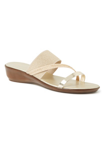 'Made In Italy' Gold Stud Trim Multi-Strap Wedged Sandals