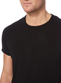 Black Raw Edge Tee
