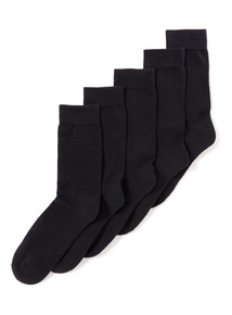 5 Pack Black Cushion Footbed Socks