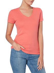 Coral Plain V-neck T-shirt
