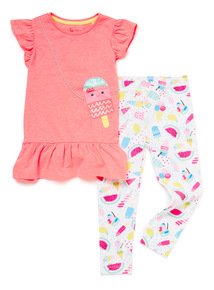 2 Piece Multicoloured T-Shirt and Leggings Set (9 months-6 years)