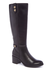 Premium Black Leather Knee High Boots