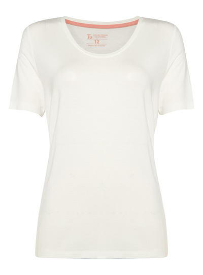 White V Neck Scoop Tee