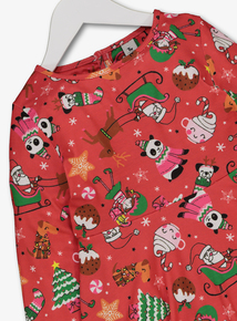 Red Christmas Santa Print Dress (3-14 years)