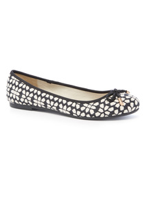 Monochrome Abstract Geometric Print Ballerina Shoes