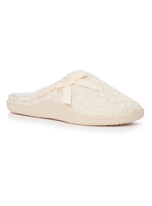 Cream Floral Memory Foam Mule Slippers