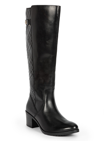 Premium Black Leather Quilted Knee-High Boots
