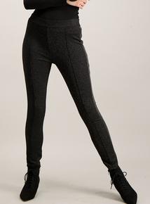 Black Sparkle Side Stripe Leggings