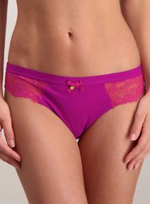 Fuchsia Pink Flocked Brazilian Knickers