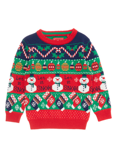 Red Christmas Snowman Jacquard Jumper (9 months - 5 years)