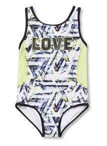 Multicoloured Geographic Print Swimsuit (4 - 14 years)