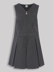Grey Pleated Zip Front Playsuit (3-12 years)