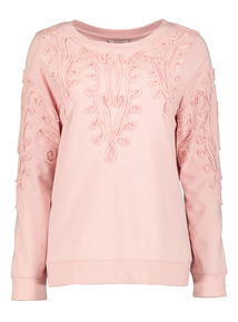 Premium Pink Cornelli Detail Long Sleeve Top