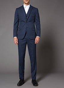 Blue Melange Slim Fit Suit Jacket