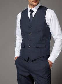 Online Exclusive Blue Dogtooth 100% British Wool Suit Waistcoat
