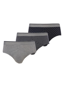 Black Mixed Pattern Briefs 3 Pack