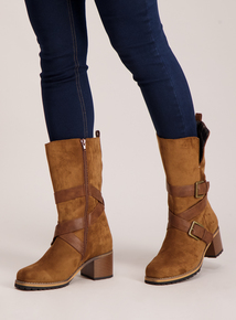 Sole Comfort Tan Suede Effect Mid-Length Boots