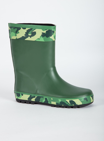 Green Camouflage Welly Boots (Infant 10-6)