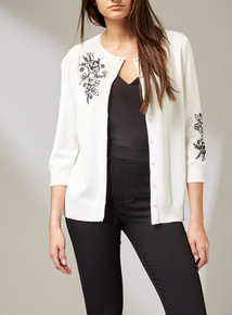 Premium Monochrome Embroidered Cardigan