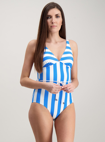 28b83bf4af Blue   White Nautical Stripe Classic Swimsuit