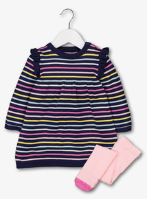 Multicoloured Stripe Dress & Tights (0-24 months)
