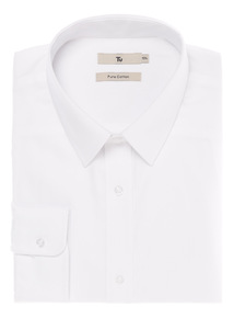 White Classic Fit Shirt with Forward Point Collar