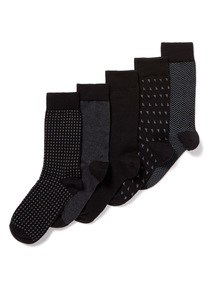 5 Pack Black Stay Fresh Socks