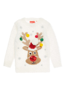 White Christmas Reindeer Sound Jumper (3-14 years)