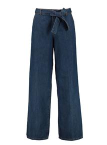 Indigo Denim Wide Leg Belted Jeans