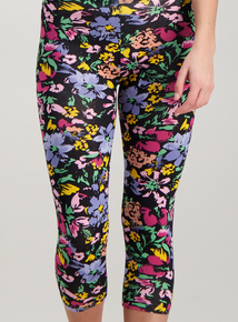 0a4bb47763 Multicoloured Brushed Floral Print Cropped Leggings 2 Pack