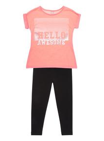 Fluro Pink 'Hello Awesome' Slogan Set (3 - 12 years)